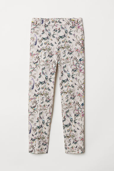 Cigarette trousers - Powder beige/Floral - Ladies | H&M