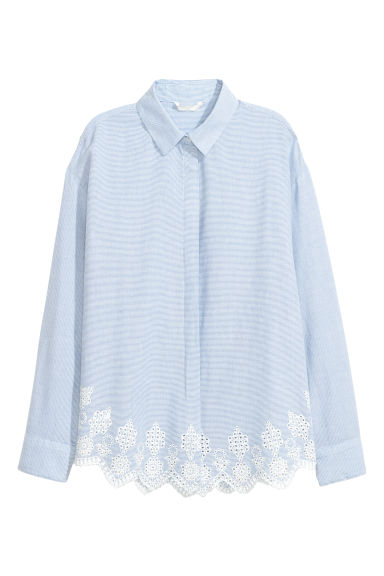 Shirt with broderie anglaise - Light blue/White striped - Ladies | H&M CN