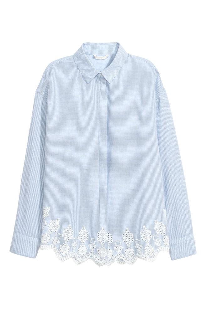 e0ece75644 Koszula z haftem angielskim - Jasnoniebieski Białe paski - ONA