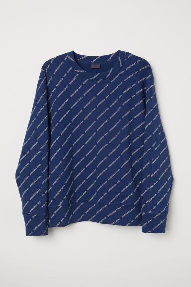 Printed sweatshirt - Dark blue - Men | H&M CN