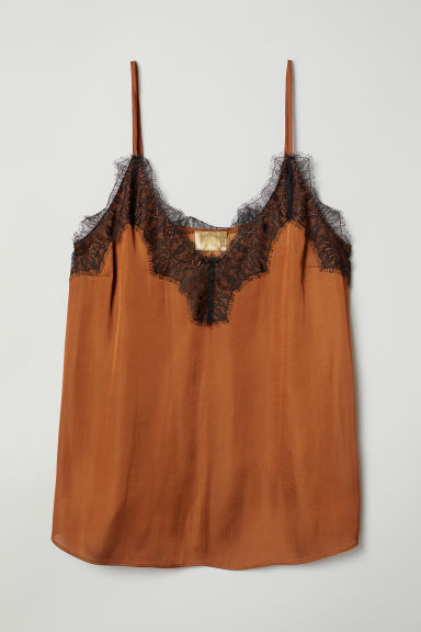 Satin strappy top with lace - Light brown - Ladies | H&M CN