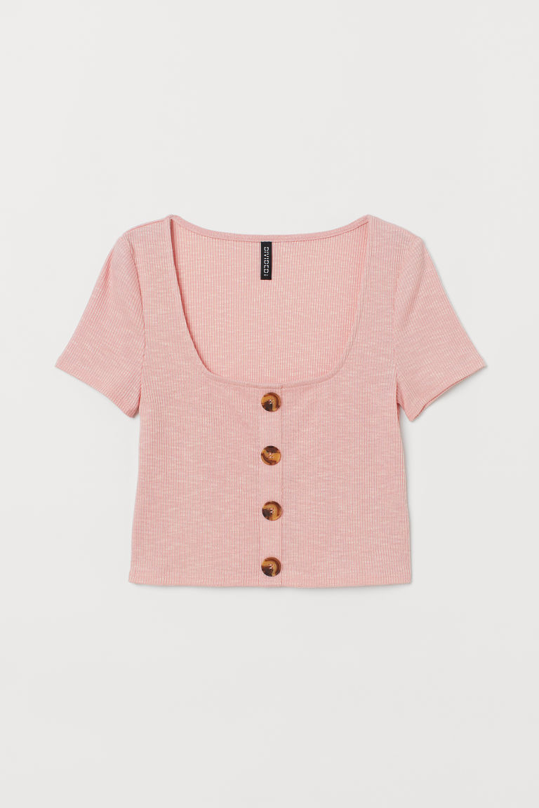 Ribbed top - Light pink -  | H&M