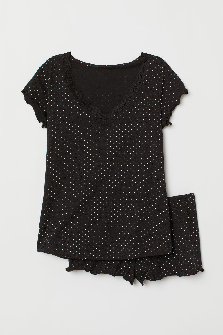 Pyjama top and shorts - Black/White spotted - Ladies | H&M