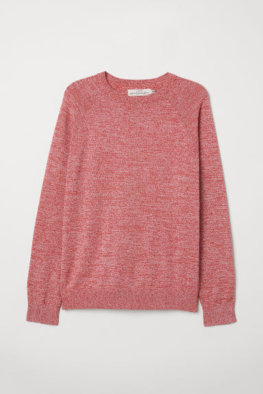 Cotton raglan-sleeved jumper - Dark pink marl - Men | H&M