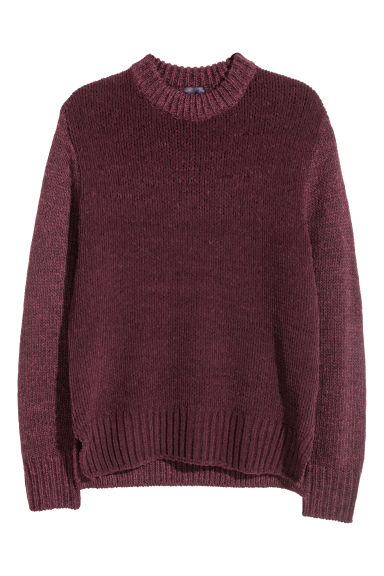 Knitted jumper - Burgundy - Men | H&M GB