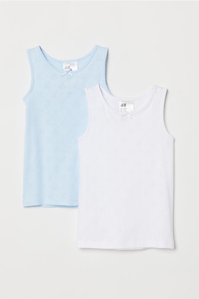 99cb43c6feca02 2-pack Jersey Tank Tops - Light blue white - Kids