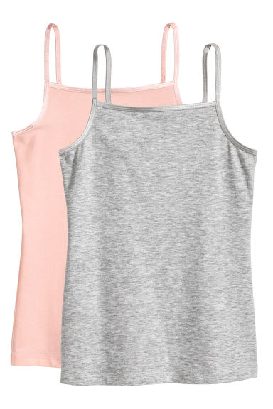 2-pack jersey strappy tops - Powder pink - Kids | H&M