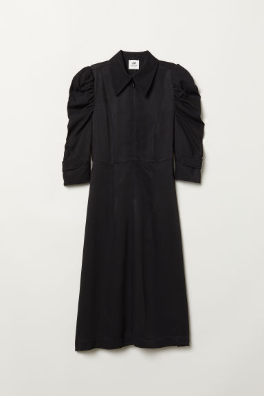 Puff-sleeved Dress - Black -  | H&M US