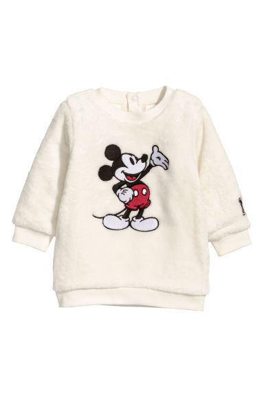 Pile sweatshirt - Natural white/Mickey Mouse - Kids | H&M CN