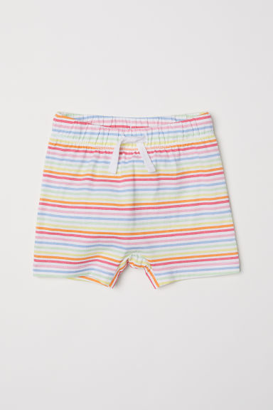 Jersey shorts - White/Multicoloured stripes -  | H&M CN