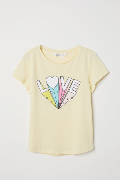 Printed T-shirt - Light yellow/Love - Kids | H&M