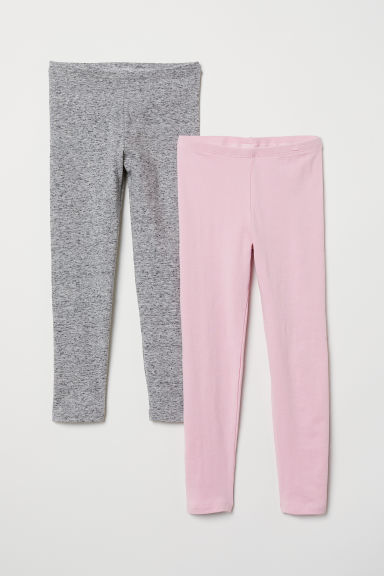 2-pack leggings - Pink/Grey marl - Kids | H&M