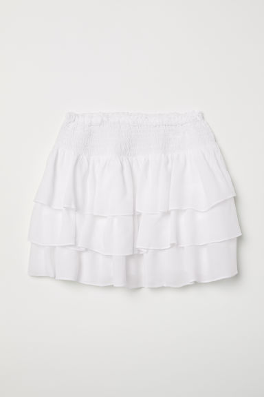 Tiered skirt with smocking - White - Kids | H&M