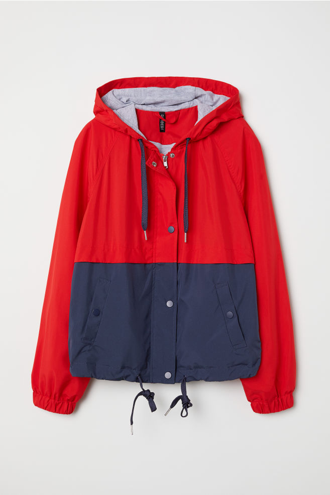 f6a68360c05a Hooded jacket - Red/Block-patterned - Ladies | H&M ...