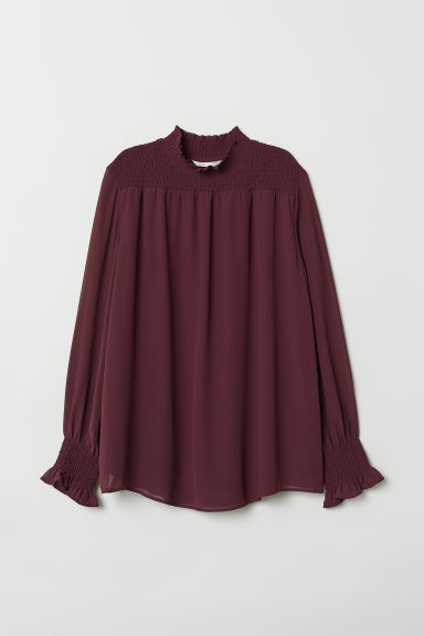 MAMA Blouse with smocking - Plum purple - Ladies | H&M CN