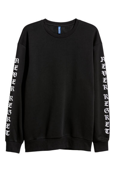 Sweatshirt with a motif - Black/Never Regret - Men | H&M IE