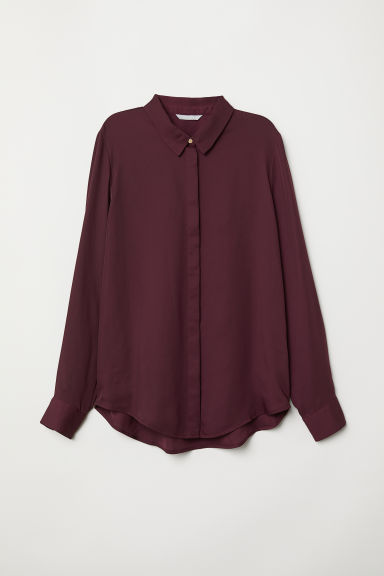 Long-sleeved blouse - Burgundy - Ladies | H&M