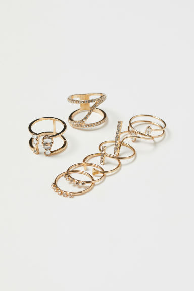 8-pack rings - Gold-coloured - Ladies | H&M