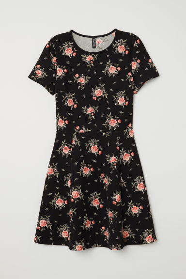 Jersey dress - Black/Roses - Ladies | H&M CN