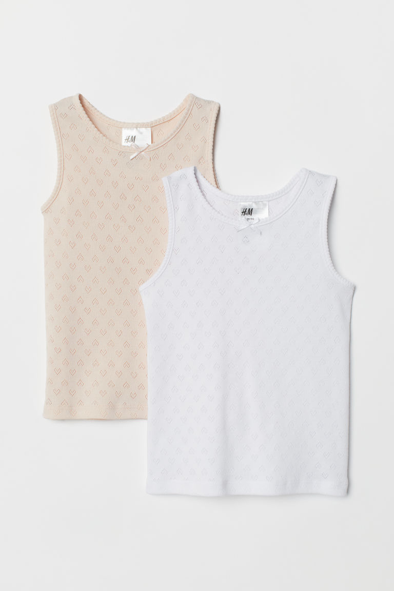 2-pack de playeras pointelle - Rosa palo/Blanco - Kids | H&M US