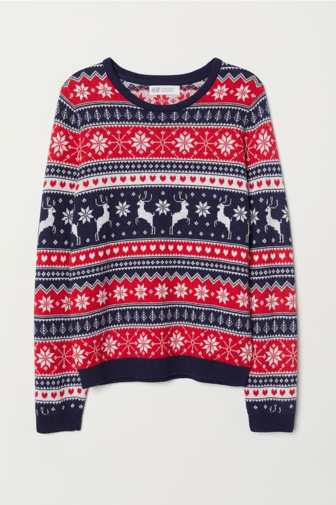 Å»akardowy sweter - Ciemnoniebieski/Czerwony - Dziecko | H&M PL 1