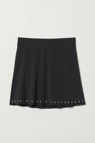 Jersey skirt with studs - Black - Ladies | H&M
