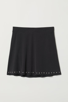 Jersey skirt with studs