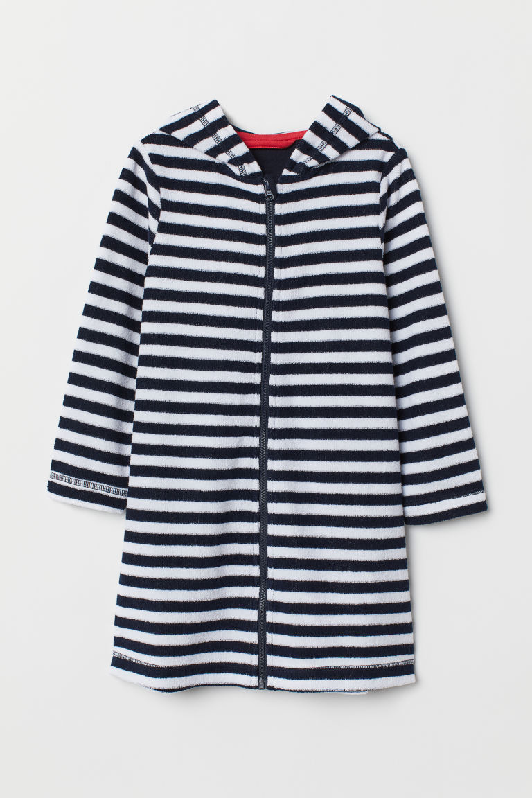 Hooded dressing gown - Dark blue/White striped - Kids | H&M CN