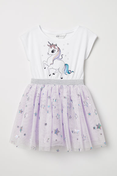 Dress with a tulle skirt - White/Unicorn - Kids | H&M