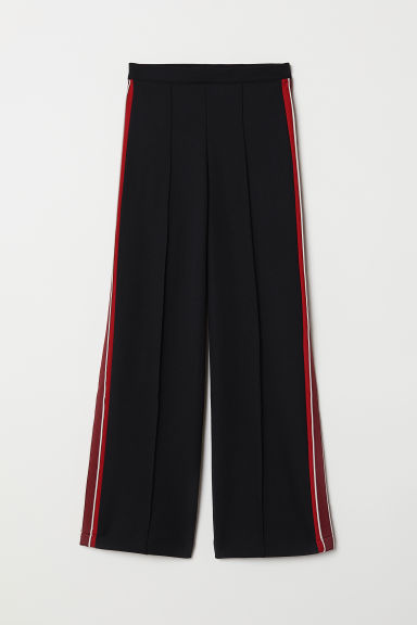 Trousers with side stripes - Black/Red - Ladies | H&M