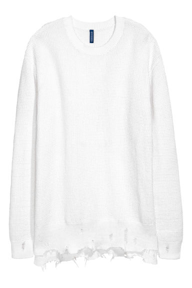 Textured-knit jumper - White -  | H&M