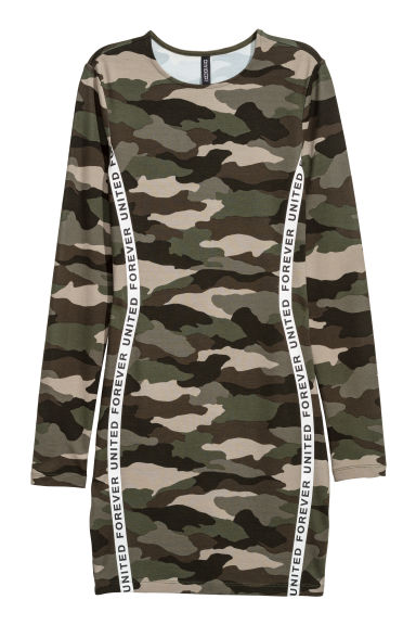 Fitted jersey dress - Khaki green/Patterned -  | H&M CN