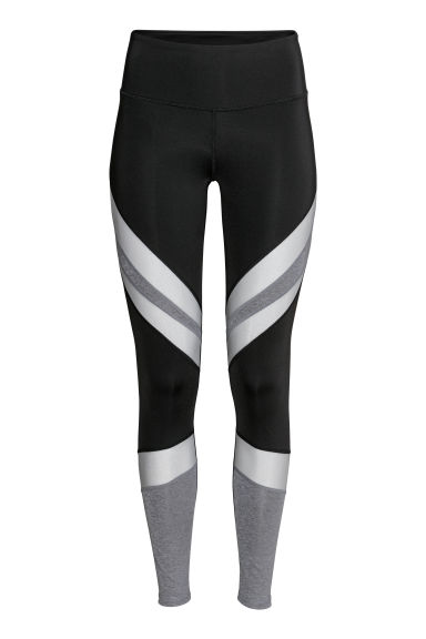 Yoga tights - Black/Silver-coloured - Ladies | H&M