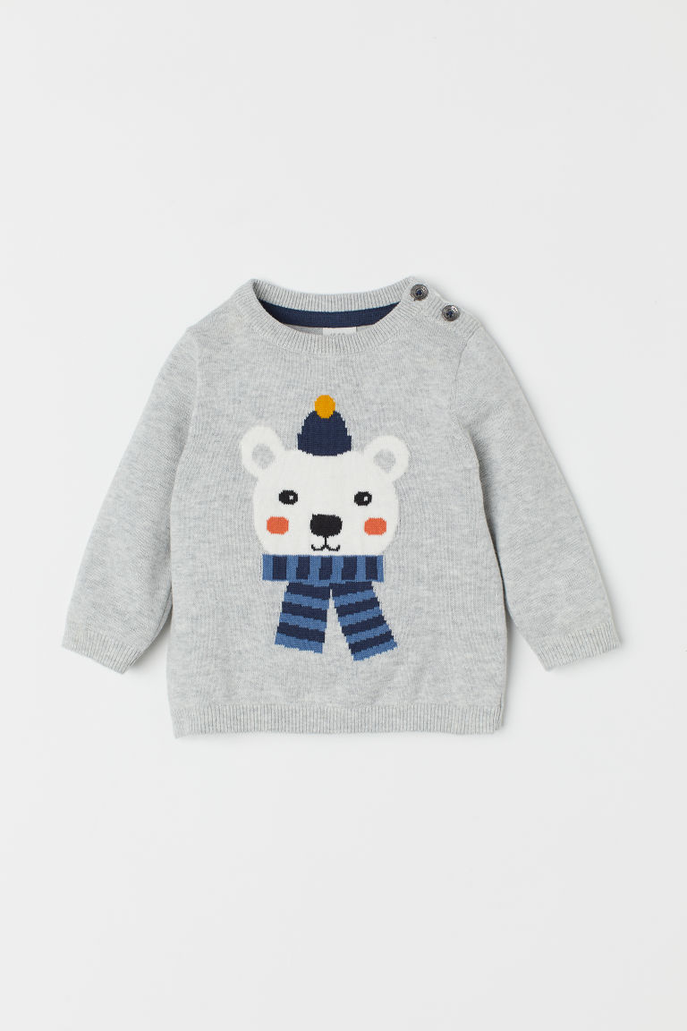 Fine-knit jumper - Light grey marl/Polar bear - Kids | H&M CN