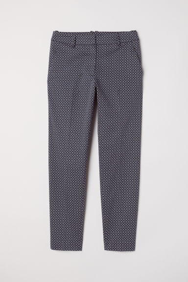 Cigarette trousers - Dark blue/Patterned - Ladies | H&M CN