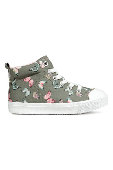 Hi-top trainers - Khaki green/Butterflies - Kids | H&M CN