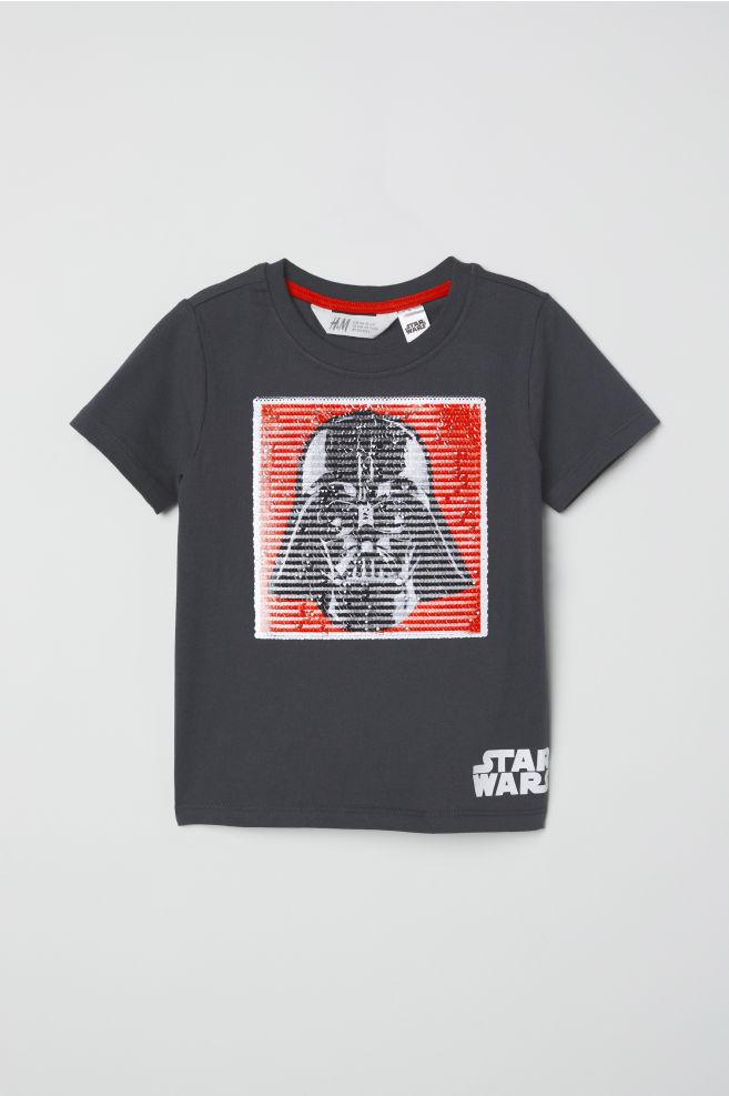 Reversible sequin T-shirt - Dark grey Star Wars - Kids  0824b1946592