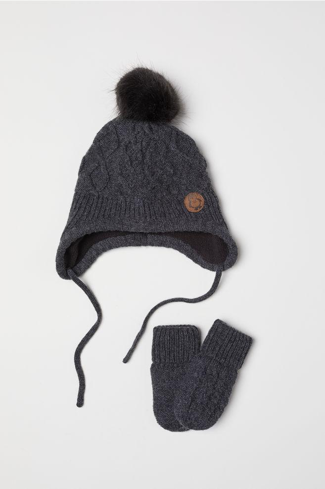 Čepice a rukavice - Tmavě šedá - DĚTI  b1fbee5095