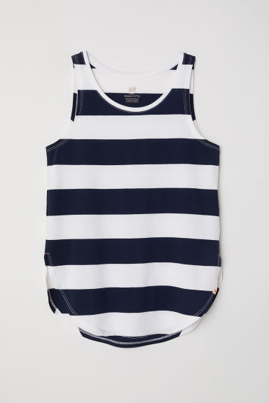 Slub jersey vest top - White/Striped - Kids | H&M