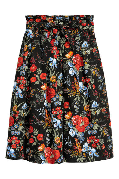 Cotton skirt - Black/Floral - Ladies | H&M GB