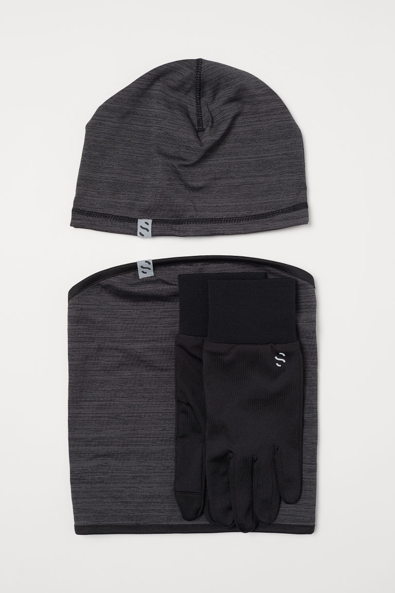 3-piece running set - Dark grey marl/Black - Men | H&M