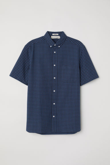 Oxfordhemd - Regular fit - Donkerblauw/zwart geruit - HEREN | H&M BE