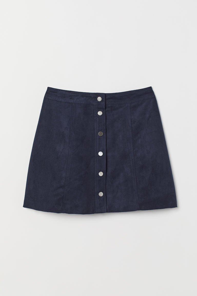 A-line skirt - Dark blue/Imitation suede -  | H&M