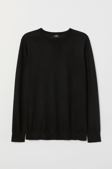 Knitted merino-blend jumper - Black - Men | H&M