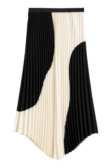 Pleated skirt - Black/White - Ladies | H&M CN