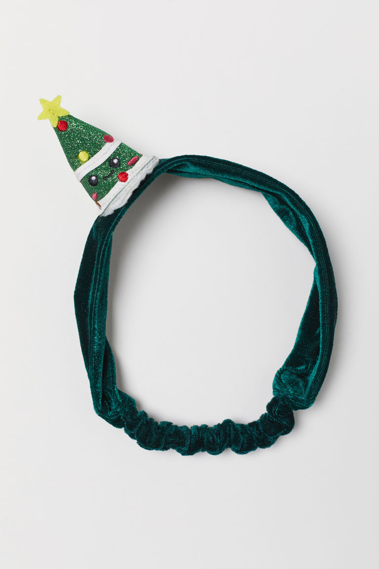 Hairband with an appliqué - Dark green/Christmas tree - Kids | H&M IE
