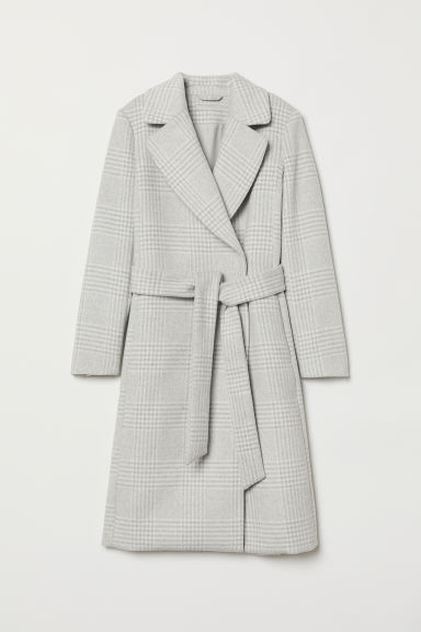 Wool-blend coat - Light grey/Checked - Ladies | H&M GB