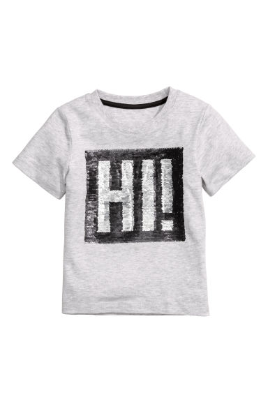 Reversible sequin T-shirt - Light grey - Kids | H&M CN