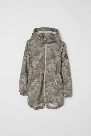 Cotton parka - Khaki green/Patterned - Kids | H&M CN