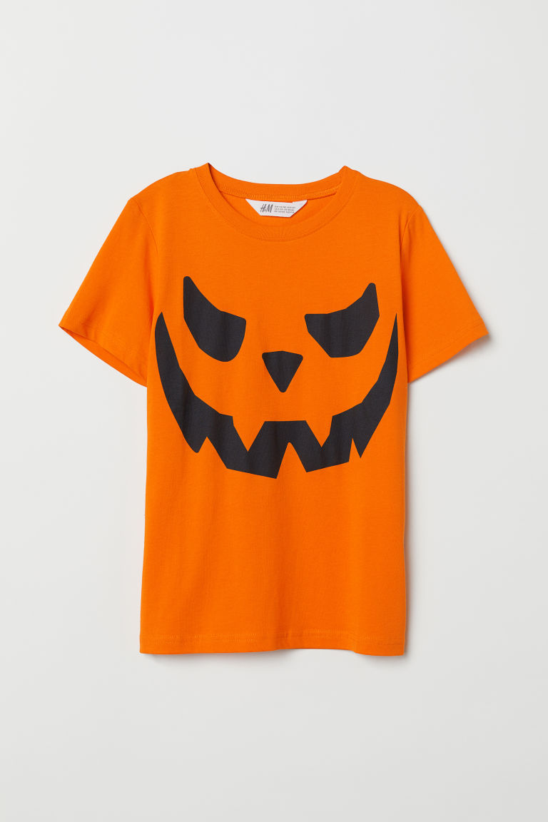 Printed T-shirt - Orange/Pumpkin -  | H&M CN